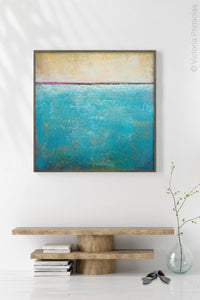 "Teal coastal abstract beach artwork ""Shallow Harbor,"" downloadable art by Victoria Primicias, decorates the entryway."