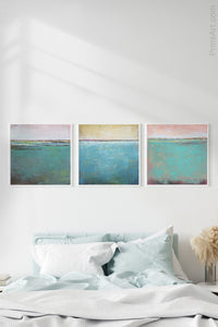 "Teal coastal abstract beach artwork ""Shallow Harbor,"" digital print by Victoria Primicias, decorates the bedroom."
