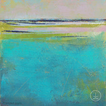 "Load image into Gallery viewer, Turquoise abstract beach wall art ""Shallow Time,"" digital print by Victoria Primicias"