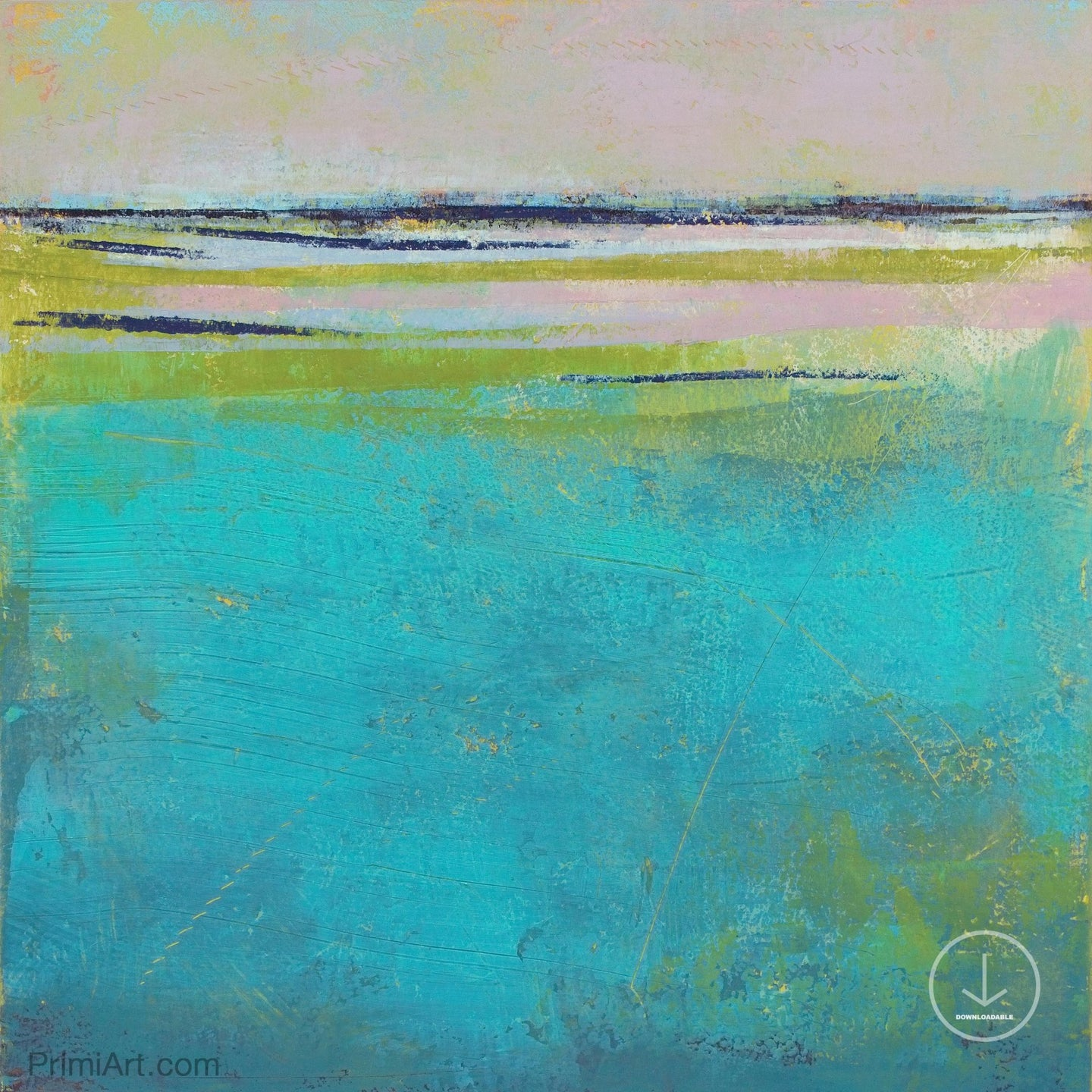 Turquoise abstract beach wall art