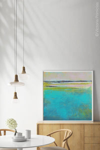 "Turquoise abstract beach wall art ""Shallow Time,"" digital print by Victoria Primicias, decorates the dining room."
