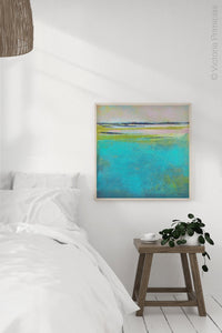 "Turquoise abstract beach wall art ""Shallow Time,"" digital print by Victoria Primicias, decorates the bedroom."
