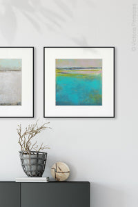 "Turquoise abstract coastal wall art ""Shallow Time,"" digital print by Victoria Primicias, decorates the hallway."