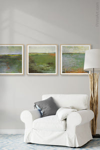"Horizon landscape painting ""Shamrock Shoals,"" digital download by Victoria Primicias, decorates the living room."