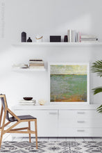 "Load image into Gallery viewer, Horizon abstract landscape painting ""Shamrock Shoals,"" digital download by Victoria Primicias, decorates the office."