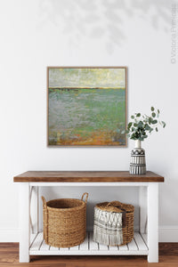 "Horizon abstract landscape painting ""Shamrock Shoals,"" digital download by Victoria Primicias, decorates the entryway."