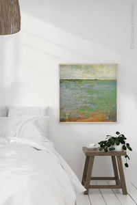 "Green abstract landscape art ""Shamrock Shoals,"" canvas wall art by Victoria Primicias, decorates the bedroom."