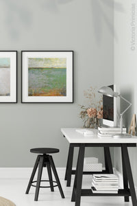 "Green abstract landscape art ""Shamrock Shoals,"" canvas wall art by Victoria Primicias, decorates the office."