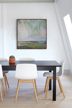 "Load image into Gallery viewer, Large coastal abstract landscape art ""Shifting Winds,"" digital art by Victoria Primicias, decorates the office."