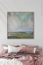 "Load image into Gallery viewer, Large coastal abstract landscape art ""Shifting Winds,"" digital print by Victoria Primicias, decorates the bedroom."