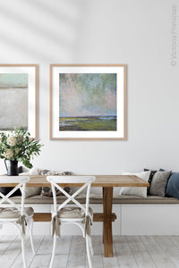 "Large coastal abstract landscape art ""Shifting Winds,"" digital download by Victoria Primicias, decorates the dining room."