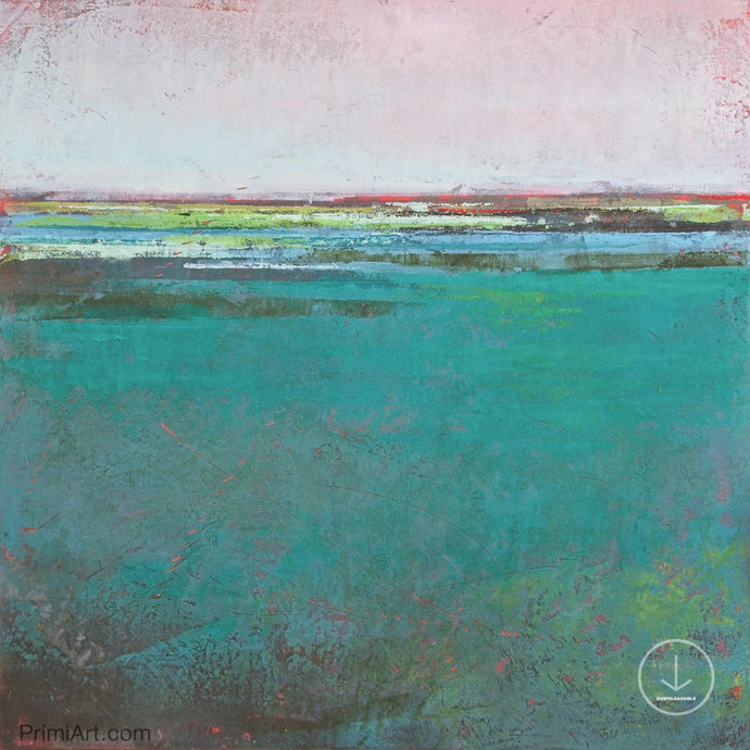 Large teal abstract ocean wall art