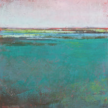 "Load image into Gallery viewer, Teal green abstract ocean wall art ""Siesta Seas,"" fine art print by Victoria Primicias"