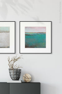 "Teal green abstract ocean wall art ""Siesta Seas,"" fine art print by Victoria Primicias, decorates the entryway."