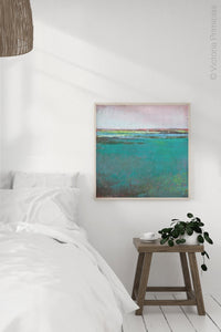 "Teal green abstract ocean wall art ""Siesta Seas,"" fine art print by Victoria Primicias, decorates the bedroom."