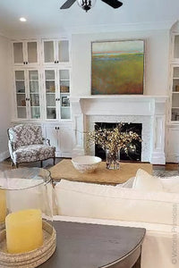 "Impressionist abstract landscape art ""Silent Spring,"" downloadable art by Victoria Primicias, decorates the living room."