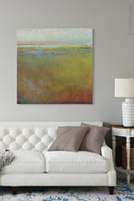 "Load image into Gallery viewer, Impressionist abstract landscape painting ""Silent Spring,"" digital print by Victoria Primicias, decorates the living room."