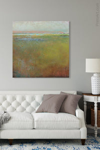 "Impressionist abstract landscape painting ""Silent Spring,"" digital print by Victoria Primicias, decorates the living room."
