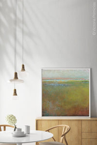 "Impressionist abstract coastal wall art ""Silent Spring,"" digital artwork by Victoria Primicias, decorates the dining room."