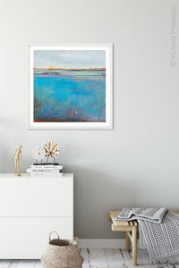 "Colorful abstract seascape painting ""Silver Sands,"" digital print by Victoria Primicias, decorates the hallway."