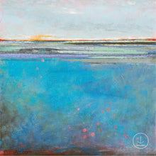 "Load image into Gallery viewer, Colorful abstract seascape painting ""Silver Sands,"" digital art by Victoria Primicias"