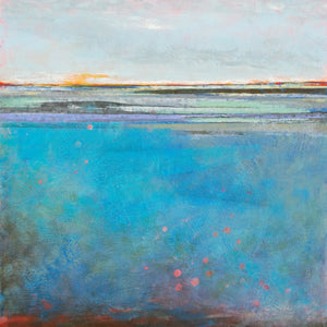 "Turquoise abstract seascape painting ""Silver Sands,"" wall art print by Victoria Primicias"