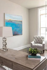 "Large coastal abstract beach wall art ""Silver Sands,"" original art by Victoria Primicias, decorate the office."