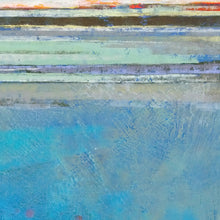 "Load image into Gallery viewer, Closeup detail of large coastal abstract beach wall art ""Silver Sands,"" original art by Victoria Primicias"