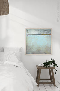"Seafoam and gray abstract beach painting ""Silver Springs,"" wall art print by Victoria Primicias, decorates the bedroom."