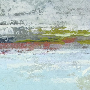 "Closeup detail of seafoam and gray abstract ocean painting ""Silver Springs,"" fine art print by Victoria Primicias"