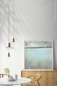 "Seafoam and gray abstract ocean painting ""Silver Springs,"" fine art print by Victoria Primicias, decorates the dining room."