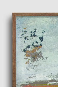 "Closeup detail of seafoam and gray abstract beach painting ""Silver Springs,"" wall art print by Victoria Primicias"