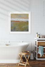 "Load image into Gallery viewer, Modern abstract ocean painting ""Singing Surf,"" digital print by Victoria Primicias, decorates the bathroom."