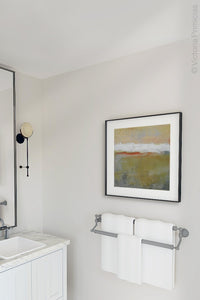 "Modern abstract ocean painting ""Singing Surf,"" digital print by Victoria Primicias, decorates the bathroom."