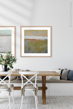 "Load image into Gallery viewer, Modern abstract ocean art ""Singing Surf,"" digital print by Victoria Primicias, decorates the dining room."