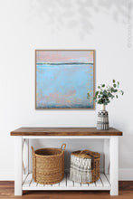 "Load image into Gallery viewer, Pastel abstract coastal wall decor ""Sister Shore,"" digital artwork by Victoria Primicias, decorates the entryway."