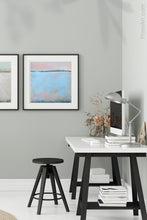 "Load image into Gallery viewer, Pastel abstract coastal wall decor ""Sister Shore,"" digital download by Victoria Primicias, decorates the office."