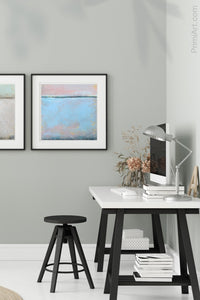 "Pastel abstract coastal wall decor ""Sister Shore,"" digital download by Victoria Primicias, decorates the office."