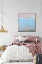 "Load image into Gallery viewer, Pastel abstract coastal wall decor ""Sister Shore,"" digital print by Victoria Primicias, decorates the bedroom."
