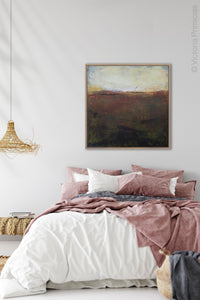 "Unique abstract ocean art ""Sonorous Seas,"" giclee print by Victoria Primicias, decorates the bedroom."