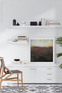 "Unique abstract landscape art ""Sonorous Seas,"" fine art print by Victoria Primicias, decorates the office."