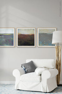 "Unique abstract coastal wall art ""Sonorous Seas,"" canvas wall art by Victoria Primicias, decorates the living room."