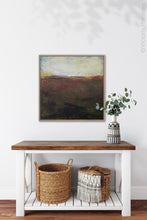 "Load image into Gallery viewer, Unique abstract landscape art ""Sonorous Seas,"" fine art print by Victoria Primicias, decorates the entryway."