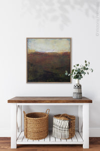 "Unique abstract landscape art ""Sonorous Seas,"" fine art print by Victoria Primicias, decorates the entryway."