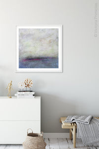 "Gray abstract landscape art ""Splintered Memory,"" giclee print by Victoria Primicias, decorates the entryway."