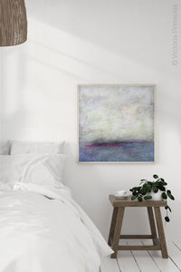 "Gray abstract landscape painting ""Splintered Memory,"" canvas wall art by Victoria Primicias, decorates the bedroom."
