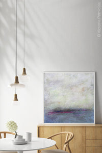 "Gray abstract landscape art ""Splintered Memory,"" giclee print by Victoria Primicias, decorates the dining room."