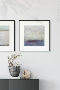 "Gray abstract landscape painting ""Splintered Memory,"" canvas wall art by Victoria Primicias, decorates the hallway."