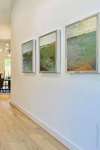 "Horizon abstract landscape art ""Spring Envy,"" downloadable art by Victoria Primicias, decorates the entryway."