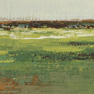 "Closeup detail of green abstract landscape painting ""Spring Envy,"" fine art print by Victoria Primicias"
